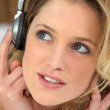 Young woman listening to music — Stock Photo #7805887