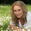 Stock Photo: Woman lying in a field of daisies