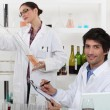 Stock Photo: Oenologists analysing different wines