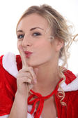 Woman in a Santa outfit — Stock Photo