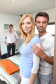 People in the bedroom — Stock Photo