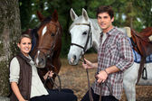 Young couple and horses in forest — Stock Photo