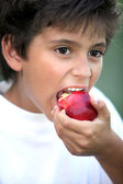 Boy eating an apple — Stock Photo