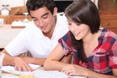 Young couple looking at documents together — Stock Photo