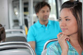 Young person on the bus — Stock Photo