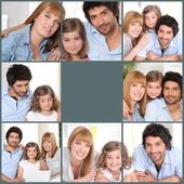 Mosaic of family at home — Stock Photo