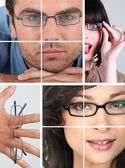 Collage of wearing glasses — Stock Photo