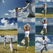 Doing tai chi — Stock Photo