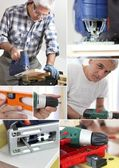 Photo-montage of a carpenter — Stock Photo