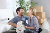 Couple in their new home — Stock Photo