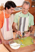 Men baking together — Stock Photo
