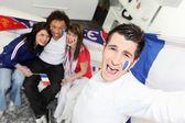 French football fans celebrating — Stock Photo