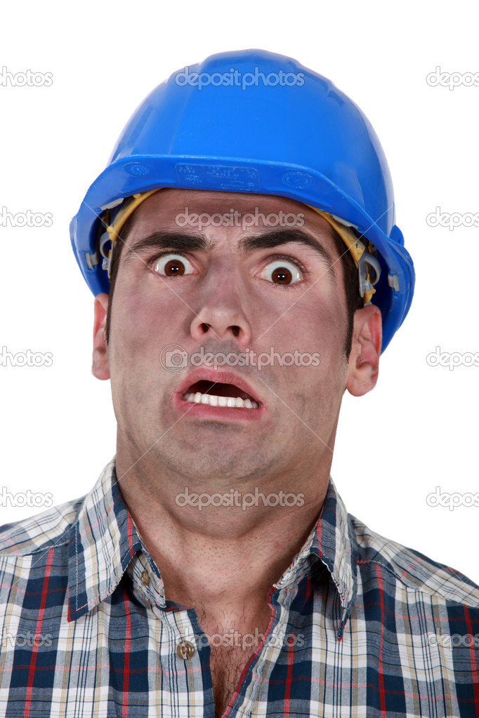 Shocked builder covered in soot — Stock Photo #7803827