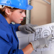 Woman with electrical diagram - Stock Photo