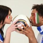 Italian soccer supporters — Stock Photo