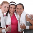 Gym buddies with bottles of water — Stok Fotoğraf #7812086