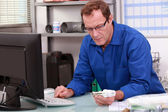 Plumber in his office — Stock Photo