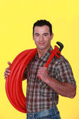 A handsome plumber. — Stock Photo
