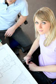 High-angle shot of architects working on a project — Stock Photo
