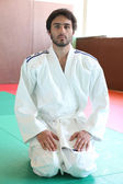Judoka on tatami — Stock Photo