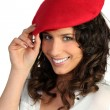 Young womwearing red beret — Stock Photo #7885954