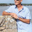 Senior tourist in Blaye, France — Stock Photo