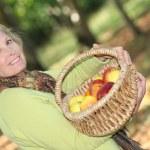vrouw plukken appels — Stockfoto