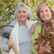 Mother and daughter collecting leaves — Stock Photo #7892498