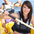 Stock Photo: Couple kayaking on a warm summer's day
