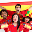 Spanish football supporters — Stock Photo