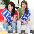 Women supporting the Italian national football team - Stock Photo