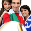 Italian football fans - Stock Photo