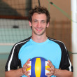 Stock Photo: Volleyball player with ball