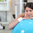 Gym equipped with an exercise ball — Stock Photo