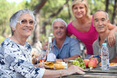 Senior woman having a picnic with friends — Stock Photo