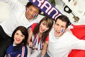 Jóvenes apoyo francés equipo deportivo — Foto de Stock