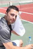 Tenisový hráč sušení hlava — Stock fotografie