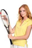 Dívka s tenisovou raketu — Stock fotografie