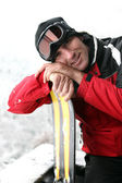 Man on a skiing holiday — Stock Photo
