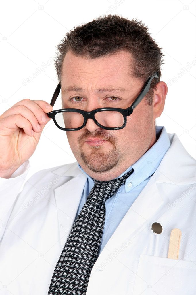 Man dressed as a doctor with silly glasses — Foto Stock #7893516