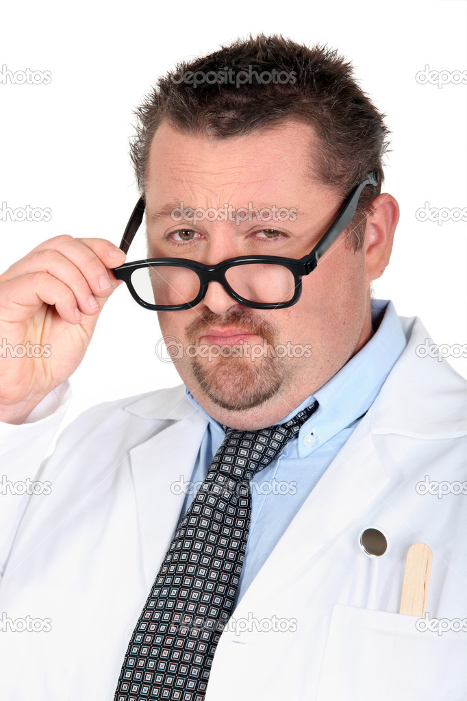 Man dressed as a doctor with silly glasses — Stockfoto #7893516