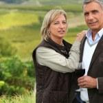 coppia, bere un bicchiere di vino in un vigneto — Foto Stock