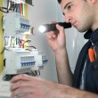 Stock Photo: Electriciexamining fuse box