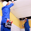 Stock Photo: Two electrician inspection ceiling panels