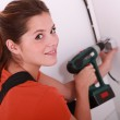 Woman doing DIY at home — Stock Photo #7903973