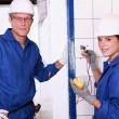 Stock Photo: Two electrician.