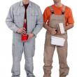 A team of painters standing side-by-side — Stock Photo #7904615