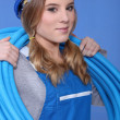 Stock Photo: Female electriciwith wiring
