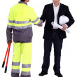 Architect shaking hands with craftsman — Stock Photo