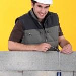 mason kontroli jego ściany z pion sznurkowy — Zdjęcie stockowe